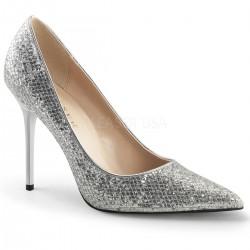 Pantofi stiletto office mireasa, argintii marimi mari CLASSIQUE 20