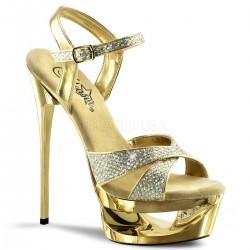 Sandale cu toc inalt dansatoare de club ECLIPSE 619 G Auriu