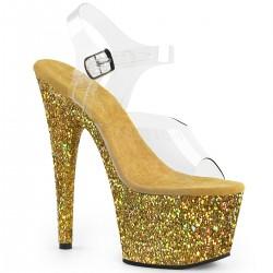 Sandale piele intoarsa papuci cu toc inalt ADORE 708 LG