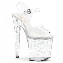 Sandale cu platforma inalta transparenta papuci de club XTREME 808 MG