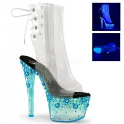 Botine cu platforma inalta, transparenta papuci sexy club SKY 1018 UVMG