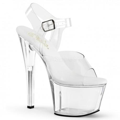 Sandale cu platforma transparenta papuci de club SKY 308 VL