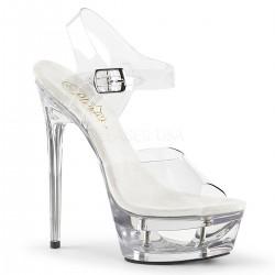 Sandale de mireasa cu toc inalt transparente ECLIPSE 608