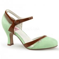 Pantofi cu toc mic retro pin up piele alb cu negru FLAPPER 25