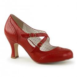 Pantofi cu toc mic retro pin up piele FLAPPER 35