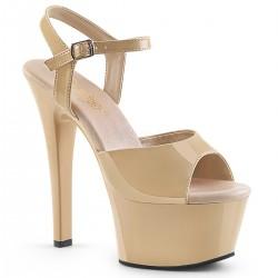 Sandale rosu papuci cu platforma medie piele lac ASPIRE 609