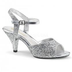 Sandale cu toc mic comode stralucitoare BELLE 309 G