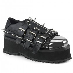 Pantofi stil gotic talpa lata metalic demonia GRAVEDIGGER 03