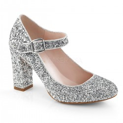 Pantofi argintii clasici toc gros comozi SABRINA 07