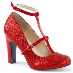 Pantofi cu toc gros comozi rosii mary jane marimi mari marimea 43 QUEEN 01