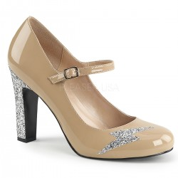 Pantofi cu toc gros comozi argintii mary jane marimi mari marimea 43 QUEEN 02