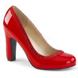 Pantofi cu toc gros comozi argintii mary jane marimi mari marimea 43 QUEEN 04