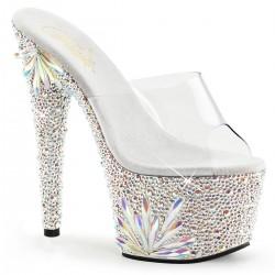 Saboti cu platforma inalta papuci cu toc inalt dansatoare sexy club BEJEWELED 701 FL