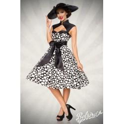 Rochie Vintage pin up rockabilly fusta larga negru alb