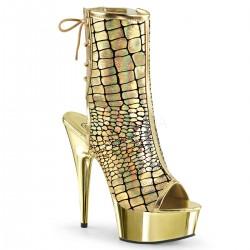 Botine aurii cu toc inalt papuci marimi mari dansatoare DELIGHT 1018 HG