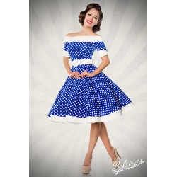 Rochie Vintage pin up rockabilly fusta larga albastru buline