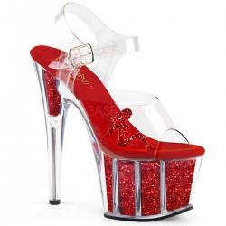 Sandale rosii cu platforma inalta papuci cu toc inalt dansatoare ADORE 708 GTG