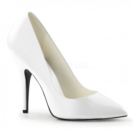 Pantofi de mireasa office stiletto albi din lac marimi mari SEDUCE 420 Alb