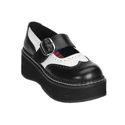 Pantofi gangster stil gotic alb cu negru EMILY 302