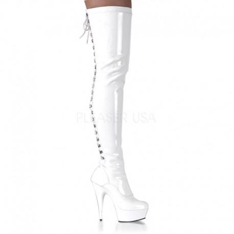 Cizme peste genunchi dansatoare marimi mari DELIGHT 3063 Alb