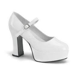 Pantofi albi mireasa cu toc gros recuzita teatru MARYJANE 50 Alb