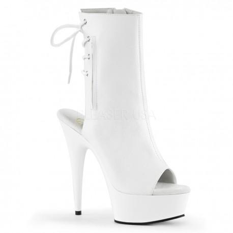 Botine albe marimi mari papuci cu toc inalt dansatoare DELIGHT 1018