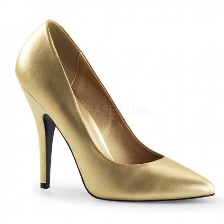 Pantofi aurii stiletto toc mediu office marimi mari SEDUCE 420