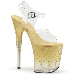 Sandale cu platforma inalta aurii papuci dansatoare club STARDUST 808 T