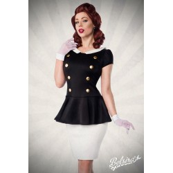 Rochie pin up retro vintage mulata alb cu negru
