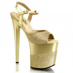 Sandale cu toc inalt papuci streaptease FLAMINGO 809 2 G Auriu