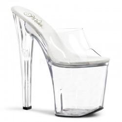 Saboti cu toc inalt papuci sexy club XTREME 801 Alb transparent