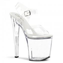 Sandale cu toc inalt XTREME 808 Alb transparent papuci cu toc de 20 cm
