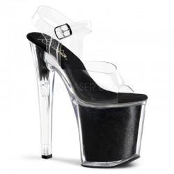 Sandale cu platforma inalta dansatoare XTREME 808 G Negru papuci cu toc de 20 cm marimi mari