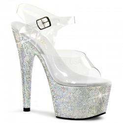Sandale de mireasa de nunta papuci cu toc inalt BEJEWELED 708 DM
