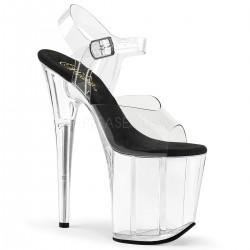 Sandale cu toc inalt papuci de club FLAMINGO 808 Alb transparent