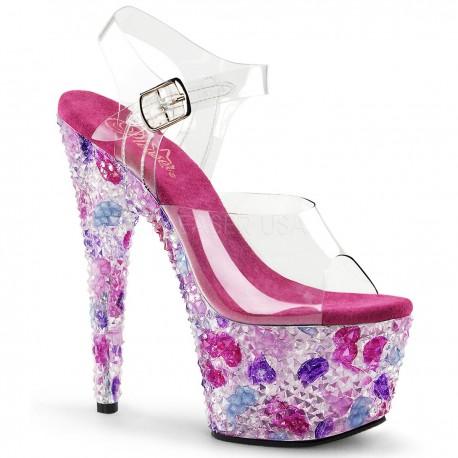 Sandale cu toc inalt si pietre papuci de dans la bara CRYSTALIZE 708