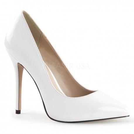 Pantofi AMUSE 20 albi stiletto de mireasa marimi mari