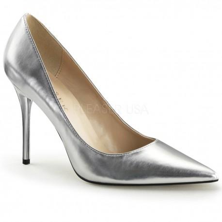 Pantofi argintii toc mediu stiletto office CLASSIQUE 20