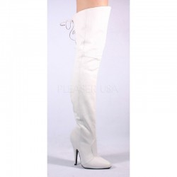 Cizme albe peste genunchi toc mic LEGEND 8899 Piele