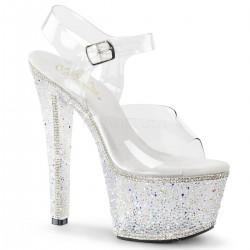 Sandale de mireasa cu platforma inalta papuci cu toc inalt sexy club BEJEWELED 708 2