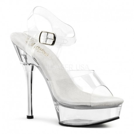 Sandale de mireasa marimi mari transparente papuci toc inalt ALLURE 608
