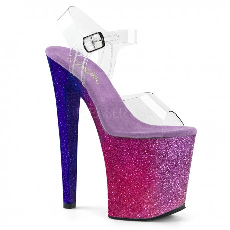 Sandale XTREME 808 OMBRE papuci dansatoare toc inalt platforma inalta piele