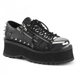 Pantofi stil gotic talpa lata metalic demonia GRAVEDIGGER 04
