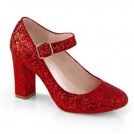 Pantofi rosii clasici toc gros comozi retro mary jane SABRINA 07