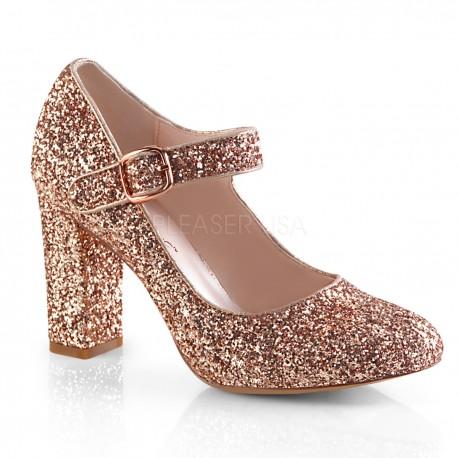 Pantofi roz clasici toc gros comozi SABRINA 07