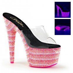 Saboti roz cu toc inalt papuci dansatoare sexy club BEJEWELED 701 UV