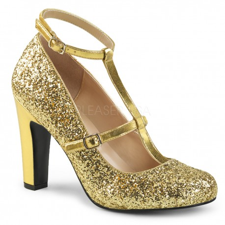 Pantofi cu toc gros comozi aurii mary jane marimi mari marimea 43 QUEEN 01