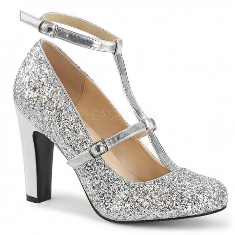 Pantofi cu toc gros comozi argintii mary jane marimi mari marimea 43 QUEEN 01