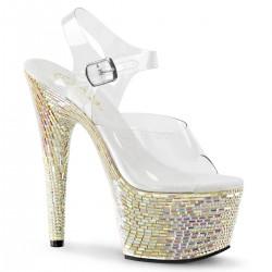 Sandale de mireasa cu platforma inalta papuci cu toc inalt sexy club BEJEWELED 708 MR