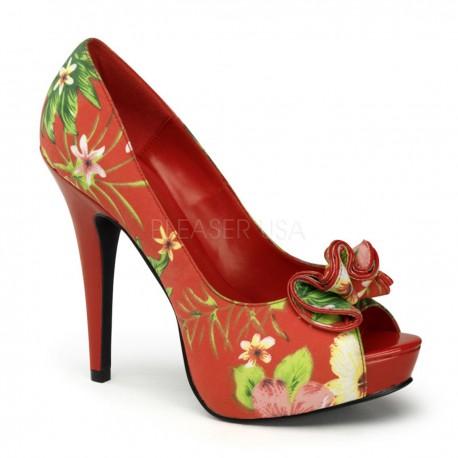 pantofi pin up cu toc mediu comozi retro flori LOLITA 10